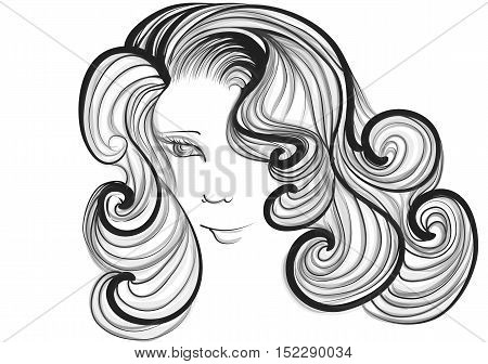 hairstyle retro. silhouette of woman isolated on white background