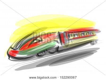 high speed train absract illustration. 10 EPS