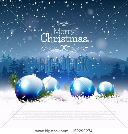 Luxury Christmas greeting card with blue baubles in the snow
