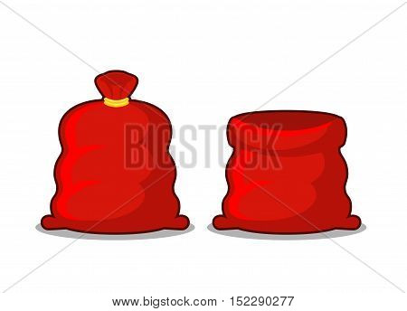 Open And Full Sack Of Santa Claus. Red Bag With Gifts On White Background. Illustration For Christma