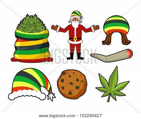 Rasta Christmas Icons Set. Santa Claus And Big Sack Hemp. Bag Of Marijuana. Pile Of Green Cannabis.