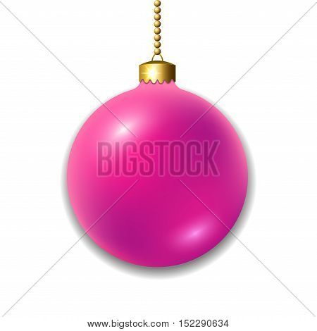 Merry Christmas 3D ball decoration. Pink with gold bauble isolated on white background. Bright shiny decorative holiday design. Symbol of Xmas Happy New Year celebration. Vector illustration