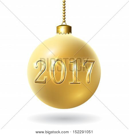 Merry Christmas 3D bauble decoration with 2017 number. Gold ball isolated on white background. Bright golden holiday design. Xmas Happy New Year celebration. Vector illustration