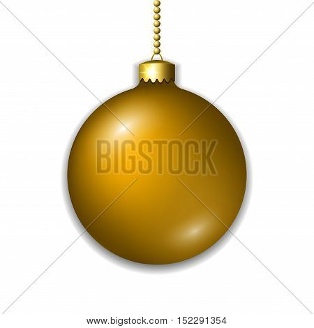 Merry Christmas 3D ball decoration. Gold glass bauble isolated on white background. Bright shiny decorative holiday design. Golden symbol Xmas Happy New Year celebration. Vector illustration