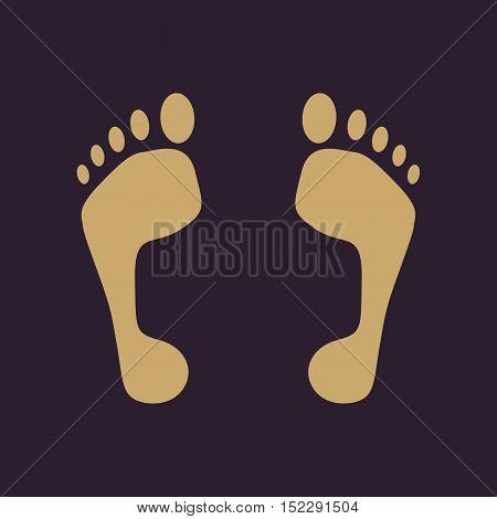 The footprint icon. foot symbol. Flat Vector illustration