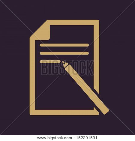 The note paper icon. Text file symbol. Flat Vector illustration