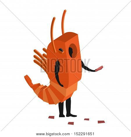 Shrimp Costume Man Mascot Promoter. Male In Suit Marine Animal Distributes Flyers. Puppets Plankton