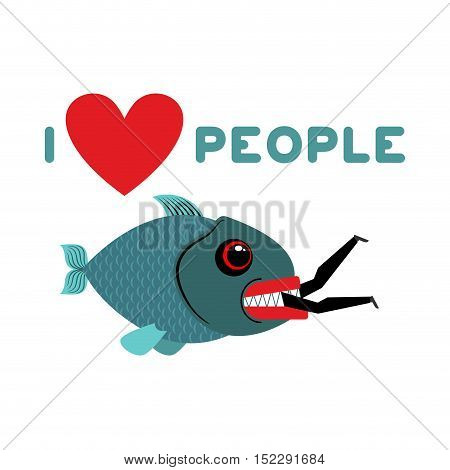 I Love People. Predator Fish Eats Man. Wild Sea Shark And Male. I Like To Eat People. Heart And Mari