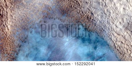 Abstract photography of landscapes of deserts of Africa from the air, fantasy forms of stone in the desert like The wishing well