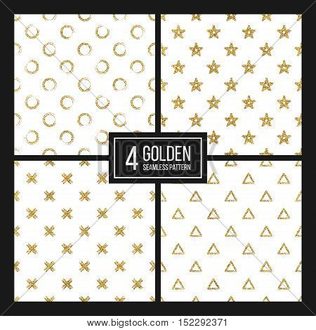 Set of seamless pattern gold glitter polka dots, triangle, star, cross, hand painted pattern of golden circle, delta, plus, vector design for paper, card, invitation, wrapping, textile, web wedding