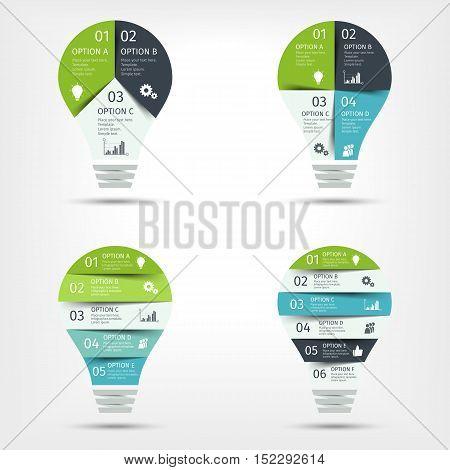 Modern light bulb infographic set. Template for presentation, chart, graph. Vector illustration