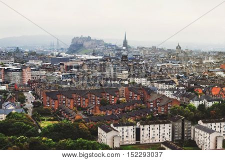 Panoramic aerial view of Edinburgh Scotland in moody weather