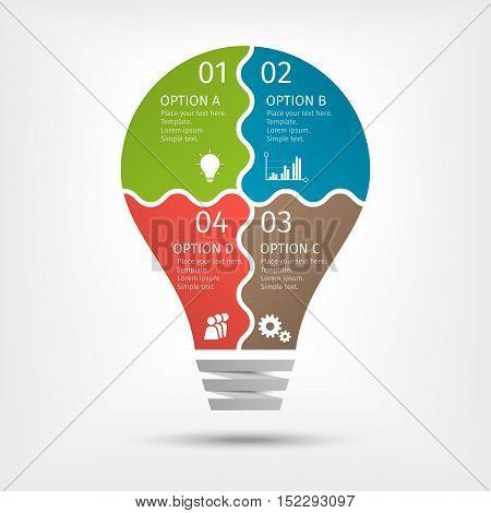 Modern light bulb infographic, 4 options. Template for presentation, chart, graph Vector illustration