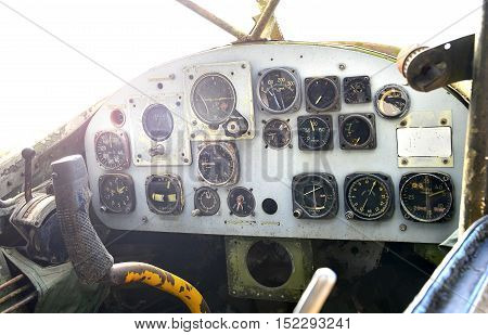 old cockpit of plane at war museum for tourist learning and take photo