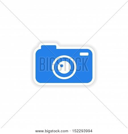 icon sticker realistic design on paper camera