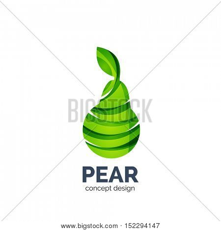 Vector creative abstract pear fruit logo created with waves