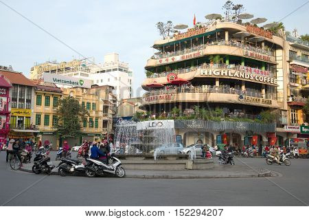 HANOI, VIETNAM - JANUARY 11, 2016: Square with a fountain in the old centre of Hanoi. Tourist landmark
