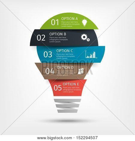 Modern light bulb infographic, 5 options. Template for presentation, chart, graph Vector illustration