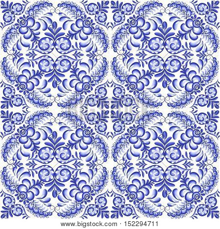 Blue vector floral square ceramics seamless pattern tile in Portuguese and Russian gzhel style