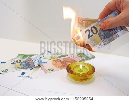 Process Of Burning Fake Euro Banknotes