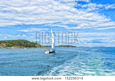 Boat in sailing regatta. Luxury yachts. Sailing yacht on the water