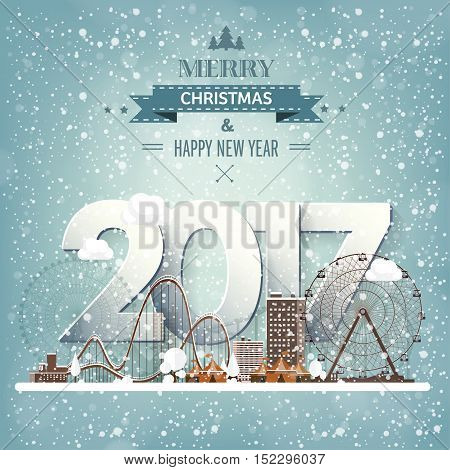 Vector illustration. Winter urban landscape. City with snow. Christmas and new year. Cityscape. Buildings.2017.