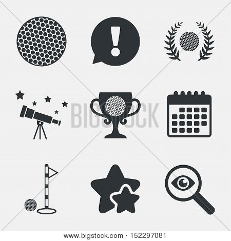 Golf ball icons. Laurel wreath winner award cup sign. Luxury sport symbol. Attention, investigate and stars icons. Telescope and calendar signs. Vector