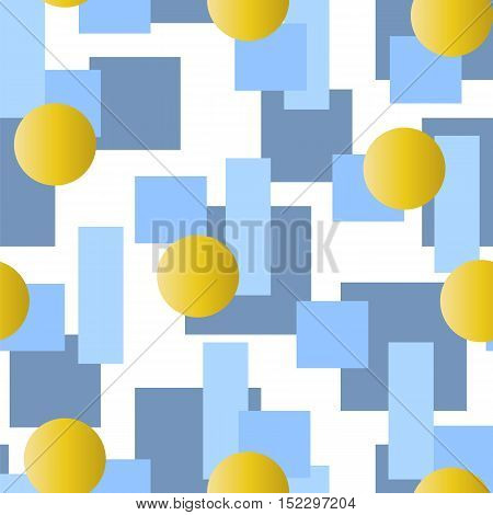 Abstract vector seamless pattern with grey and blue rectangles and golden circles on white background. Cold winter palette seamless pattern.