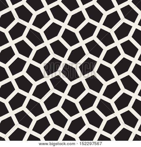 Vector Seamless Black and White Tessellation Pattern. Abstract Geometric Background Design