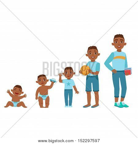 Black Boy Growing Stages With Illustrations In Different Age. Simple Cute Drawings Showing The Same Person As Baby, Kid, Teenager And Adult. Flat Vector Illustration On White Background.