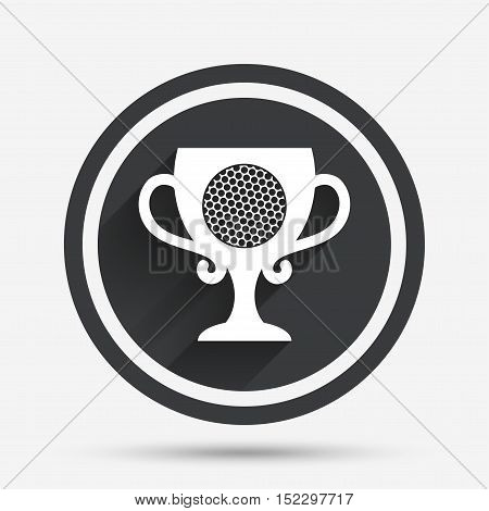 Golf ball sign icon. Sport symbol. Winner award cup. Circle flat button with shadow and border. Vector