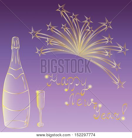 Happy New Year! Hand Drawn Golden Silhouettes of Bottle of Champagne Wineglass and Firework. Perfect for Your Festive Design. Vector Illustration