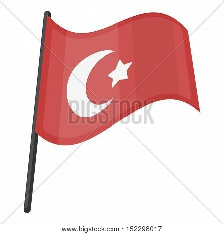 Flag of Turkey icon in cartoon style isolated on white background. Turkey symbol vector illustration.
