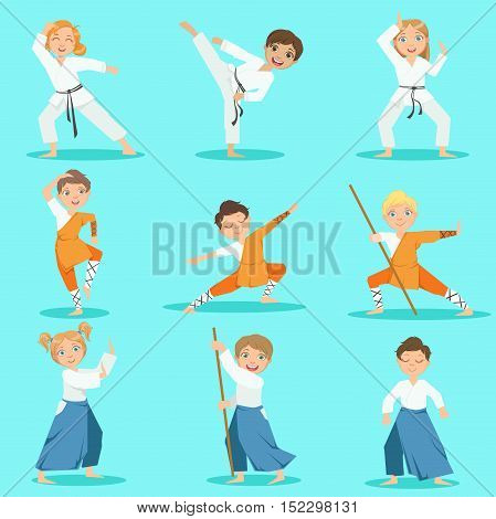 Children On Martial Arts Practice Set Of Bright Color Isolated Vector Drawings In Simple Cartoon Design On Blue Background