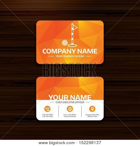 Business or visiting card template. Golf ball and hole sign icon. Sport symbol. Phone, globe and pointer icons. Vector