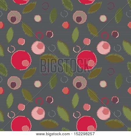 Abstract seamless pattern with circles and leaves in soft pastel colors. Geometry pattern for fabric. Textile background. Stock vector.