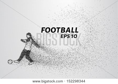 Football of the particles. Football is of little circles. A football player strikes the ball.