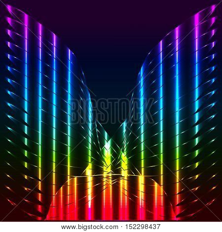 Abstract rainbow butterfly angel wings vector background