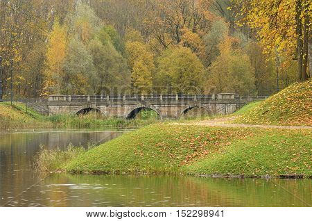Beautiful natural scenery in the Park in autumn season.