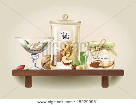 Pistachios, walnuts, cashews, hazelnuts, Brazil nuts, pine nuts, peanuts are in glass jars on wooden shelf