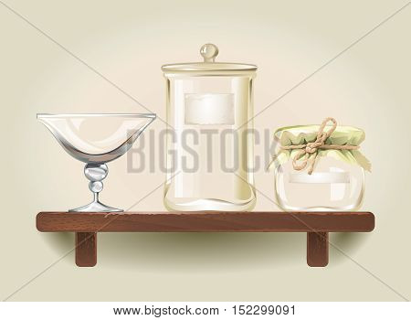 Vector illustration of empty glass jars and a bowl standing on wooden shelf
