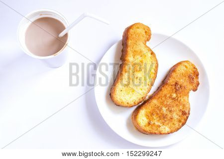 Lazy breakfast with chocolate milk and french toast