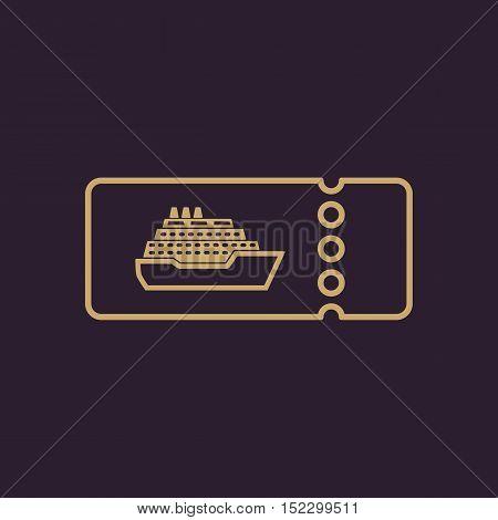 The cruise ship tickets icon. Travel symbol. Flat Vector illustration
