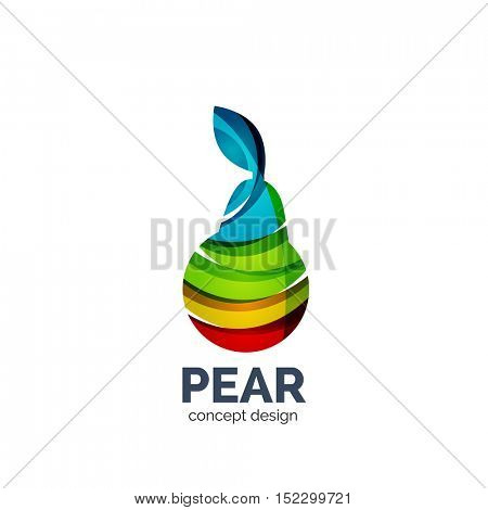 creative abstract pear fruit logo created with waves
