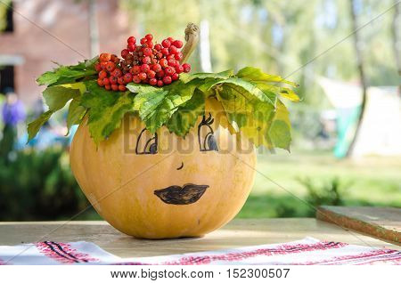 Adorable little pumpkin painted with the faces of girl.