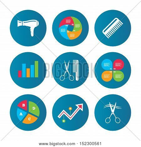 Business pie chart. Growth curve. Presentation buttons. Hairdresser icons. Scissors cut hair symbol. Comb hair with hairdryer sign. Data analysis. Vector