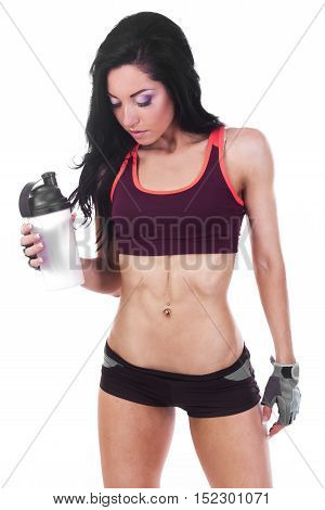 Fitness Woman Holding Shaker With Bcaa Overwhite Background.