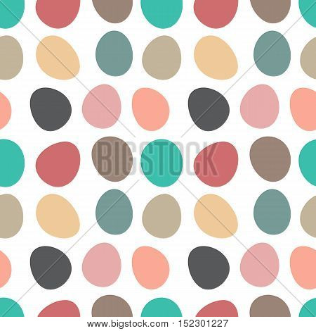 Big polka dots pattern. Elegant vector dotted background. Seamless repeat texture in modern pastel colors. Colorful shapes similar to stones.