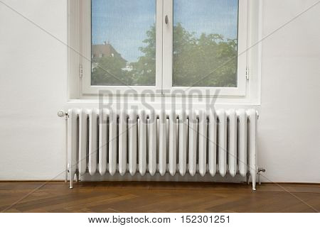 Heating radiator and window