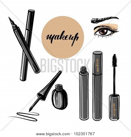 Vector hand drawn illustration of woman eye and makeup elements. Concept for beauty salon cosmetics label cosmetology procedures visage and makeup.